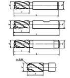 Фрезы концевые с цилиндрическим, коническим хвостовиками и хвостовиком конусностью 7 к 24 по ГОСТ Р 53002-2008
